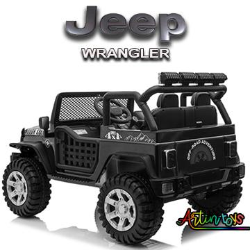 24 v Jeep Wrangler kids ride on car black