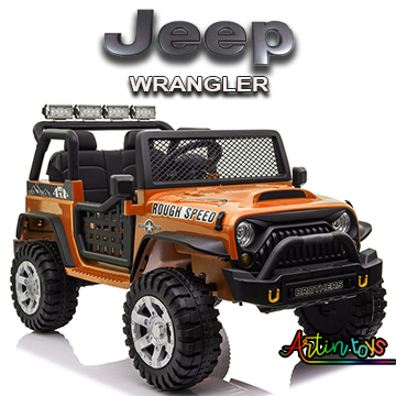 24 v Jeep Wrangler kids ride on car orange