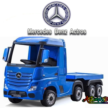 24 v Licensed Mercedes Benz Actros kids truck blue-11