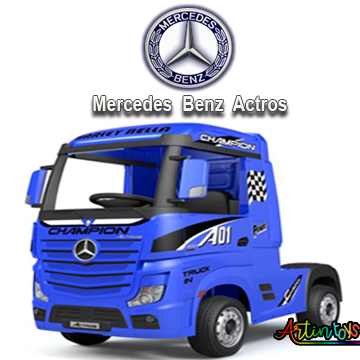 24 v Licensed Mercedes Benz Actros kids truck blue-6