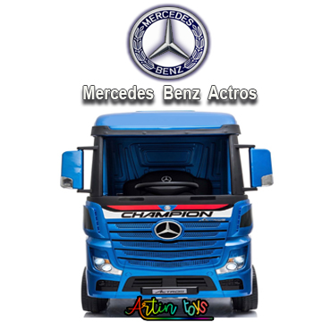 24 v Licensed Mercedes Benz Actros kids truck blue-7