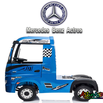 24 v Licensed Mercedes Benz Actros kids truck blue-8