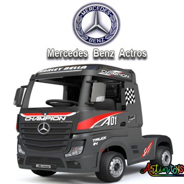 24 v Licensed Mercedes Benz Actros ride on truck black-6